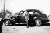 Mature Man with His New Automobile, Ca. 1940 Photographic Print