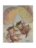 Two Kittens Floating Down in Parachutes Giclee Print