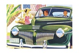 Two Men Riding in a Desoto Automobile Giclee Print
