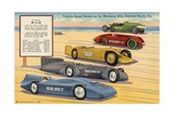 Famous Speed Racers on the Measured Mile, Daytona Beach, Florida Postcard Giclee Print