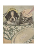 Puppy and Kitten in Hat Box Wearing Hat Giclee Print