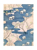 Woodblock Print of Country Cottages with Rivers and Cherry Blossoms Giclee Print