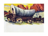 Covered Wagon Crossing American Plains Giclee Print