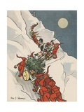 Gnomes Pulling Christmas Tree Up Snowy Mountain Giclee Print