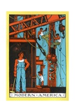 Muscular Laborers Constructing Bridge Giclee Print