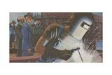 Woman Welder Working During World War II Giclee Print