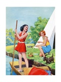 Two Young Girls Camping Giclee Print