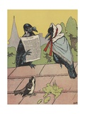 Crow Couple Sitting on Roof Impression giclée