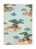 Woodblock Print of Trees on Islands in a Lake Giclee Print