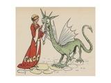 Princess with Friendly Dragon Giclee Print