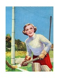 Young Girl Tending Goal in Field Hockey Gicleetryck