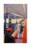 Couple Walking Toward Passenger Train Giclee Print