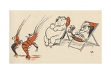 Illustration of Crustaceans Playing Music for Hippo and Bird Giclee Print