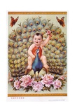 Chinese New Year's Poster with Baby Boy Riding Peacock Giclee Print