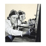 Two Ats Girls Using Plotting Apparatus Giclee Print