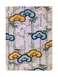 Woodblock Print of Bamboo and Cherry Blossoms Giclee Print