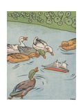 Illustration of Ducks Looking at Overturned Toy Boat Giclee Print