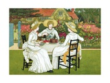 Three Women Taking Afternoon Tea Outdoors Giclee Print