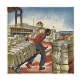 Hauling Cotton at the Shipping Docks Giclee Print