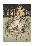 Fairies Dancing around Girl Giclee Print