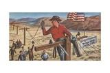 Man Wiring Long Distance Telephone System Giclee Print