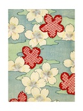 Woodblock Print of Dogwood Blossoms Giclee Print