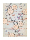 Woodblock Print of Lanterns in a Blooming Cherry Tree Giclee Print