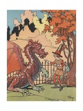 Man Talking to Dragon Giclee Print