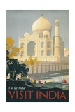 Travel Poster of the Taj Mahal Reproduction procédé giclée