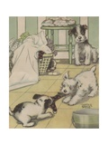 Puppies Playing with Laundry Giclee Print