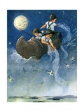 Wynken, Blynken and Nod Fishing in their Wooden Shoe Giclee Print