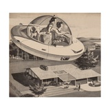 Woman Driving Flying Saucer Giclee Print