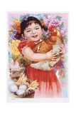 Chinese New Year's Poster with Girl Holding Chicken Giclee Print