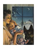 Mother Holding Baby Near Window Giclee Print