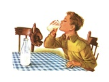Young Boy Drinking a Glass of Milk Giclee Print