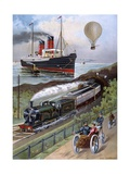 Transportation Montage Giclee Print