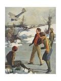 Illustration of Children Watching Plane Crash Giclee Print