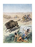 Native American Men Hunting Bison Giclee Print