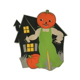 Pumpkin Scarecrow and Haunted House Giclee Print