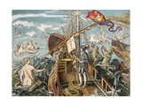Engraving of Christopher Columbus Standing on His Ship Giclee Print
