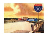 Traffic on Texas Highway Giclee Print