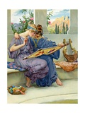 Two Greek Beauties Sewing on a Terrace Giclee Print