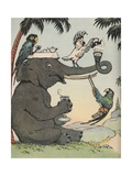 Illustration of Elephant and Parrots Having Afternoon Tea Giclee Print