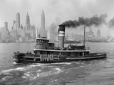 1940s Tugboat on Hudson River in NYC Photographic Print