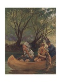 Illustration of Three Boys in Canoe Giclee Print