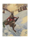 Rabbit Carrying Basket Sliding Down Snow Bank Giclee Print