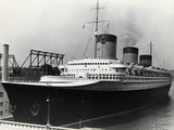 SS Normandie Docked in New York Harbor Photographic Print