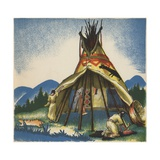 Women Setting Up Plains Tepee Giclee Print