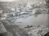 Aerial of Waterfront Earthquake Damage Photographic Print
