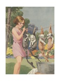 Illustration of Girl Hanging Puppies in Stockings Giclee Print